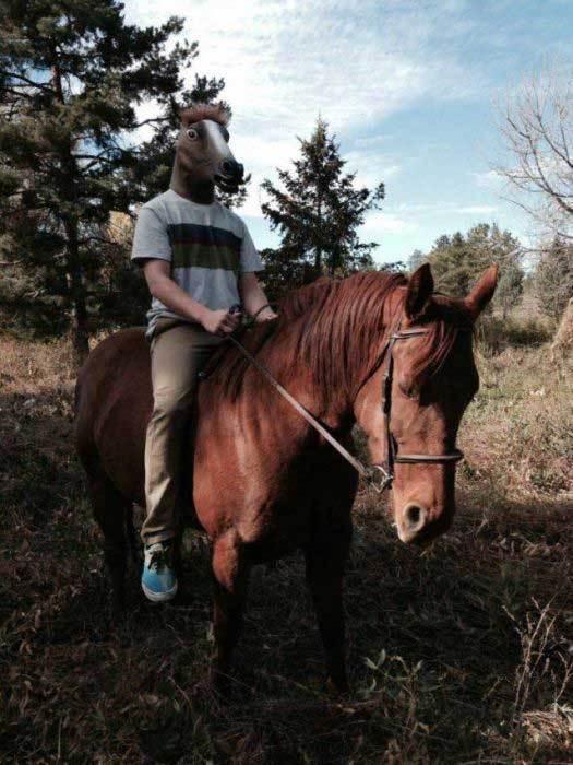 парень верхом на лошади в лошадиной маске