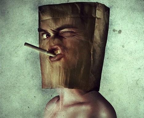 парень с сигаретой во рту фотошоп