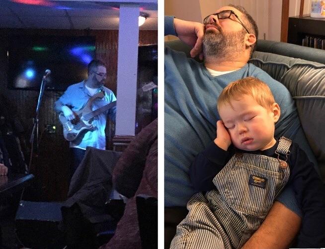 мужчина спит с сыном на диване