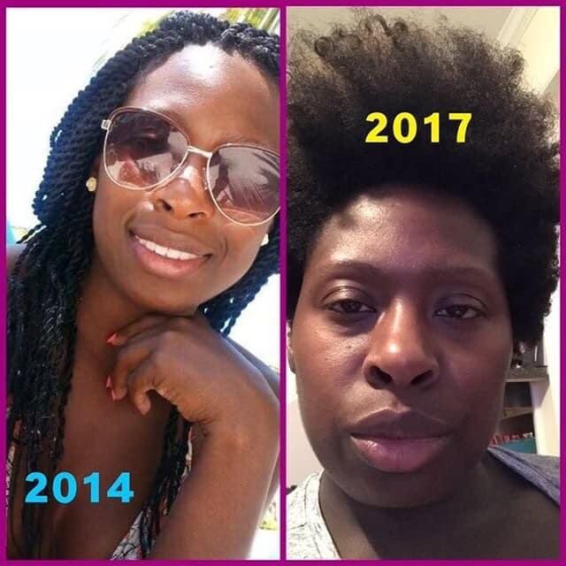 чернокожая девушка в 2014 и в 2017