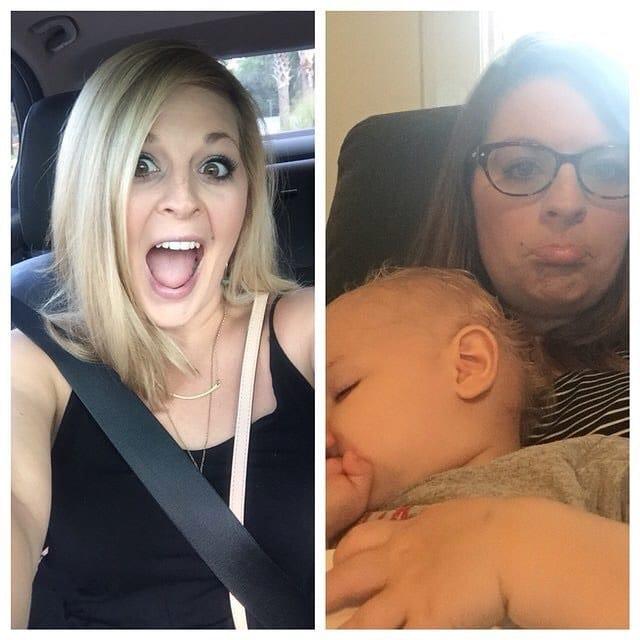 блондинка в машине и с ребенком