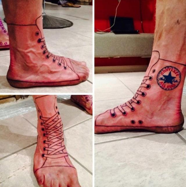 тату обувь на ноге