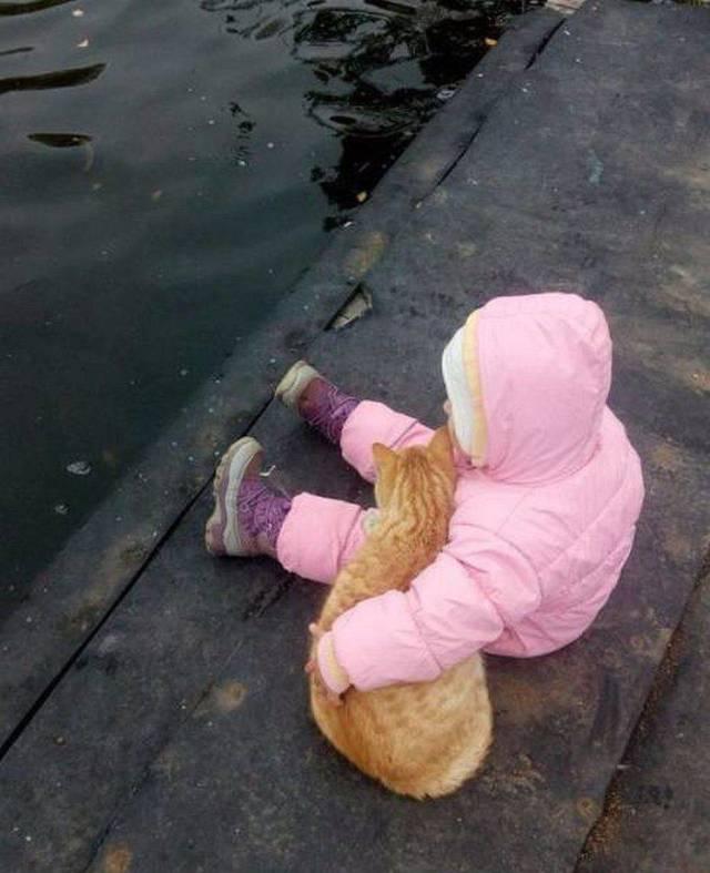 девочка и рыжий кот