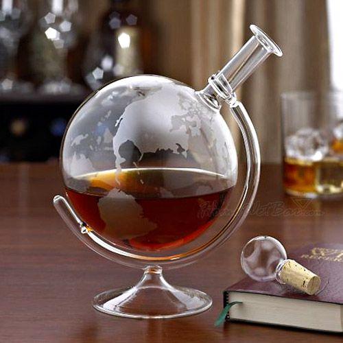Стеклянный графин для виски в виде глобуса