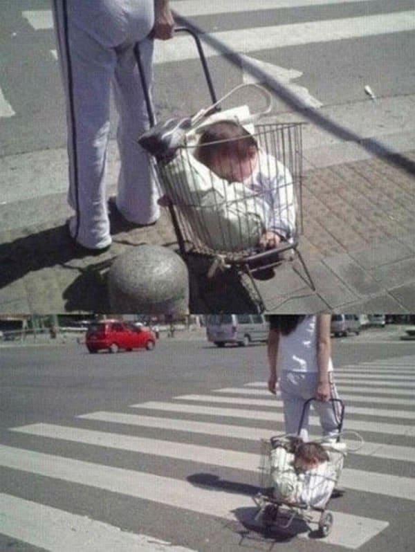 женщина и тележка с ребенком