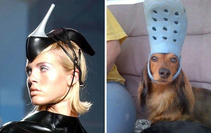 девушка с туфлей на голове