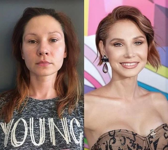 девушка до макияжа и после