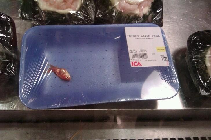 лоток с одной рыбой