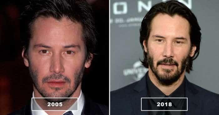 киану ривз в 2005 и в 2018