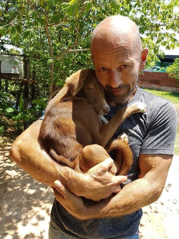 Парень и собака обнимаются