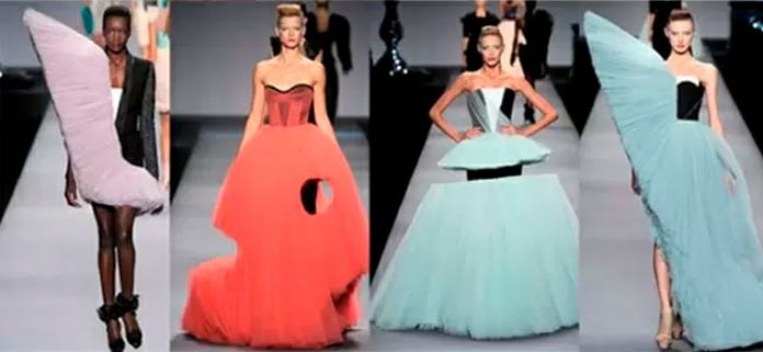 модели в странных платьях на подиуме