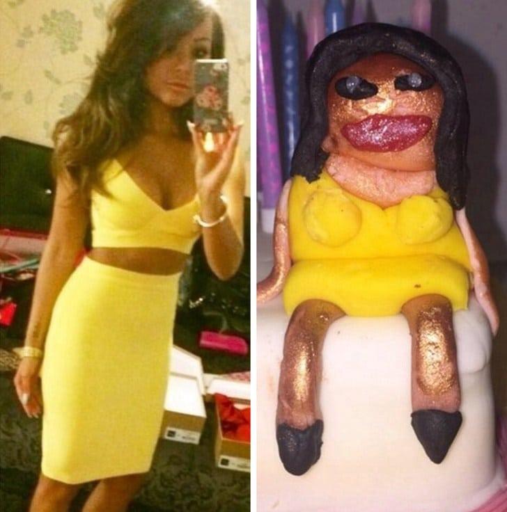 девушка в желтом платье и торт