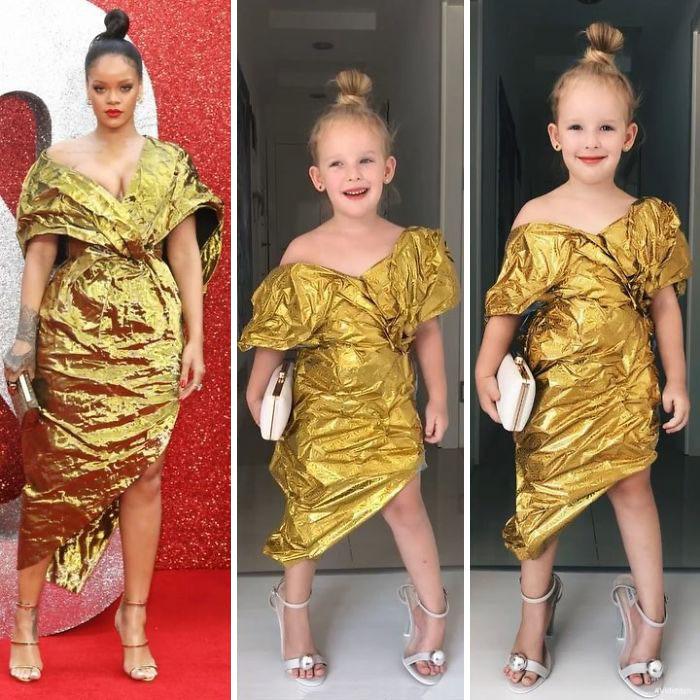 рианна в золотистом платье