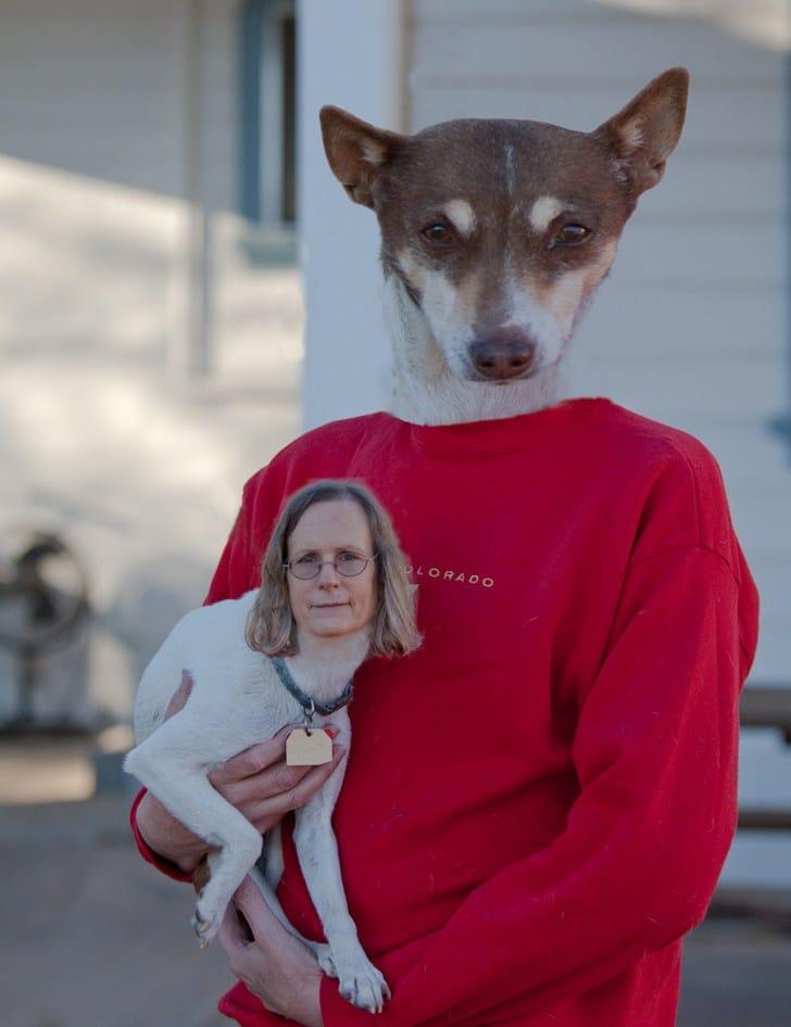 женщина с собакой на руках