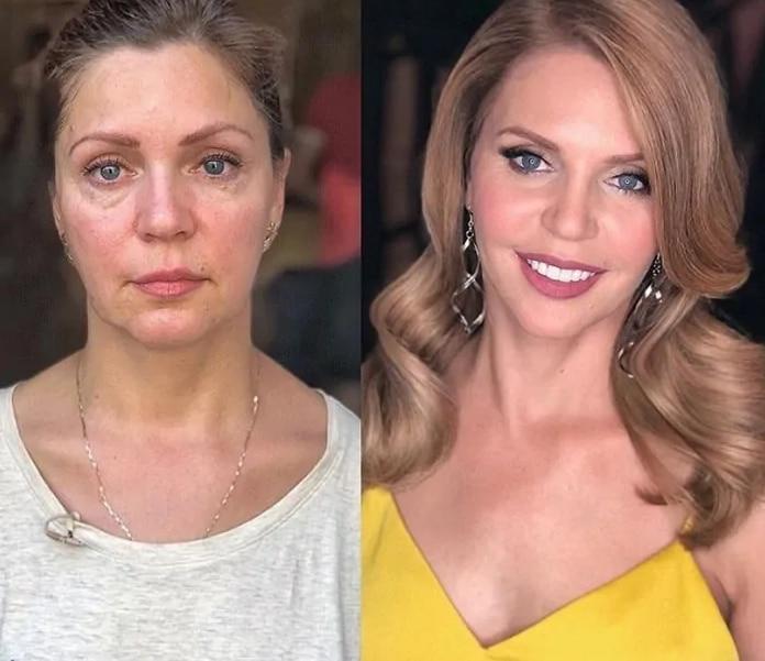 женщина до и после макияжа рис 2