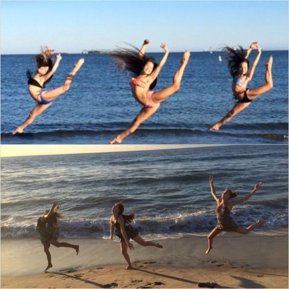 девушки прыгают на пляже