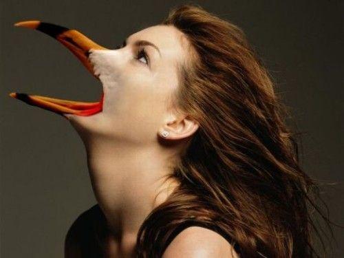 энн хэтэуэй с птичьим клювом
