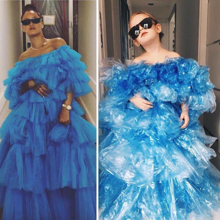 рианна в голубом пышном платье