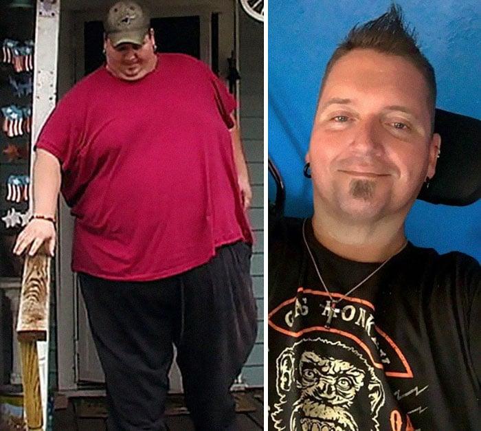 Мужчина до и после диеты