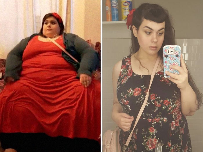 Снимок полной и похудевшей женщины