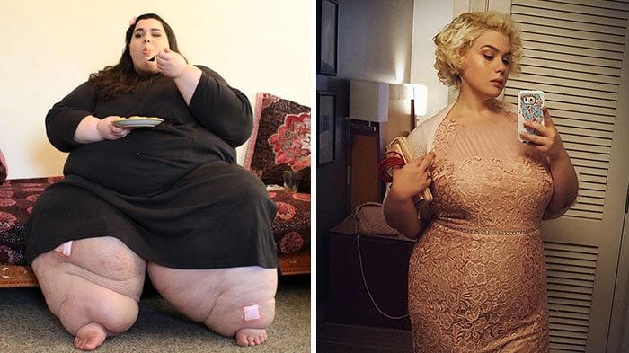 Женщина до и после диеты