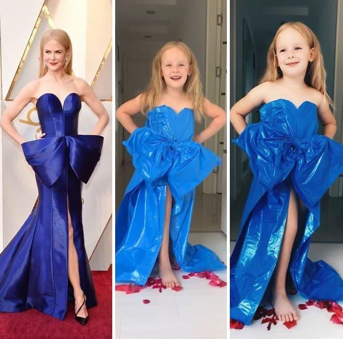 николь кидман в синем платье в пол