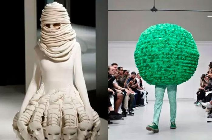 модели на подиуме в странной одежде