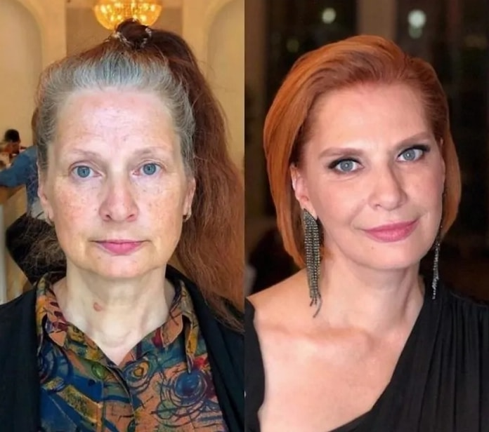 женщина с косметикой и без