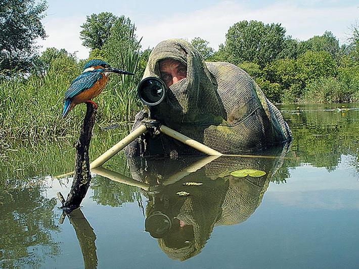 Фотограф в камуфляже снимает птицу