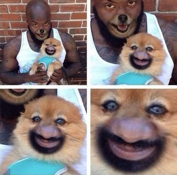 чернокожий мужчина с собачкой