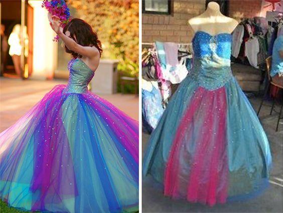 девушка в пышном голубом платье