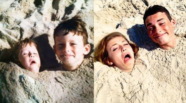 брат с сестрой в песке