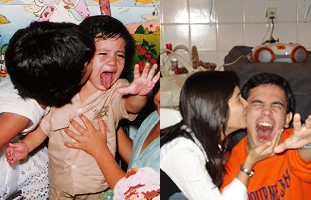 сестра целует брата в щеку