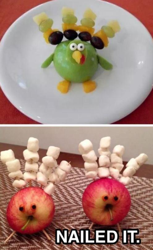 Десерт из фруктов в виде фигурки и десерт из яблока
