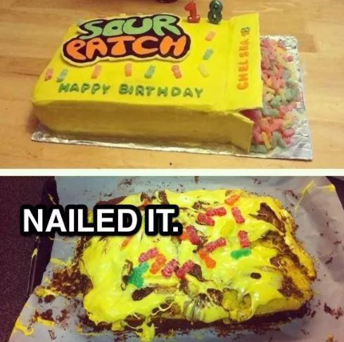 Торт в виде коробки с леденцами и его неудачное воплощение