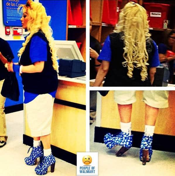 блондинка в супермаркете