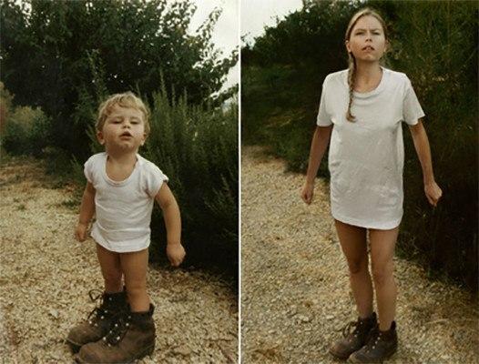 девушка в детстве и сейчас