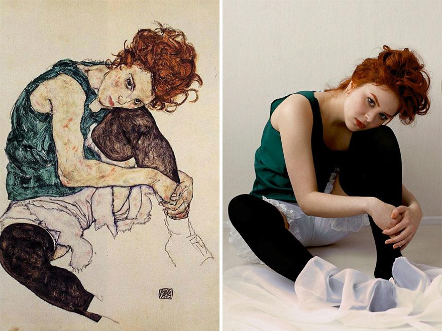 рыжеволосая девушка копирует картину
