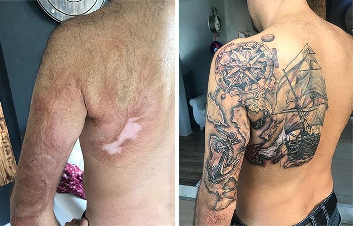 татуировка на спине и руке