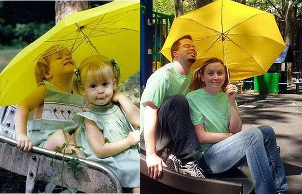 дети под желтым зонтом