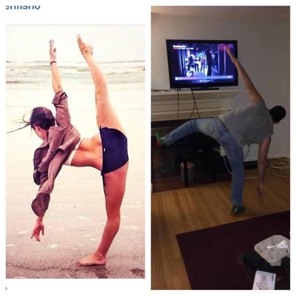 девушка и парень в позе из йоги
