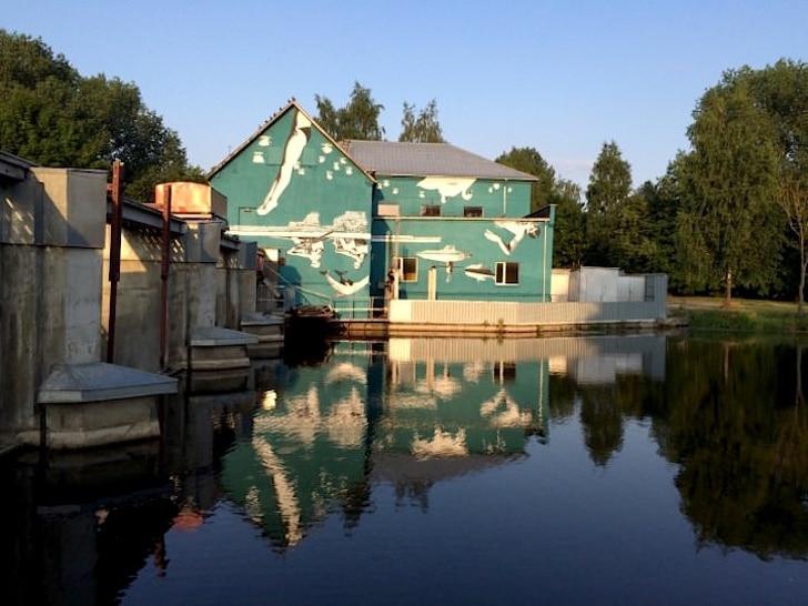 зеленый дом у озера