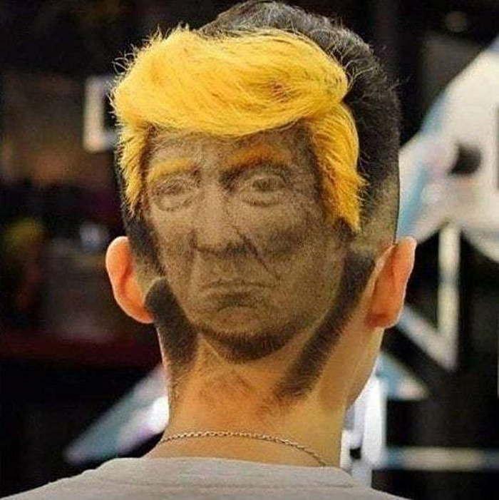 портрет трампа на затылке