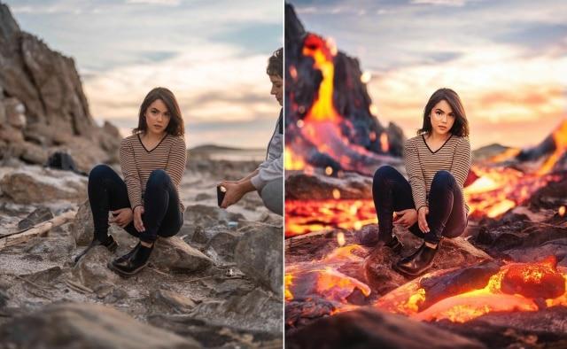 девушка сидит на камнях
