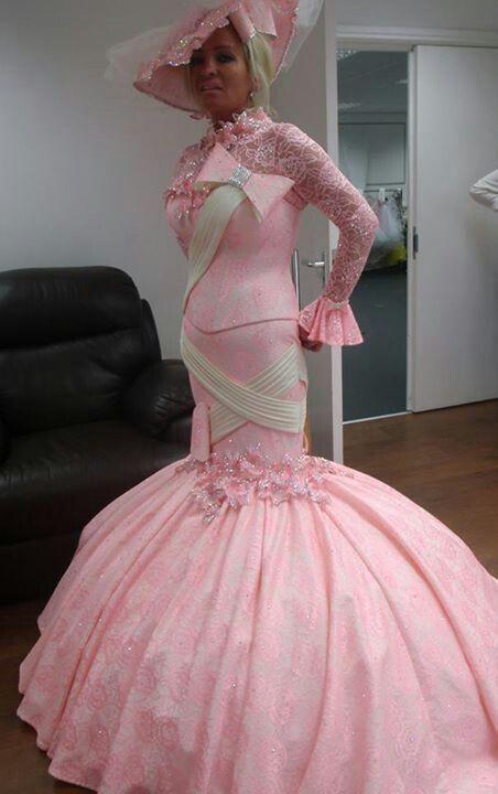 невеста в розовом платье