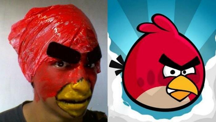 мужчина и Angry Birds