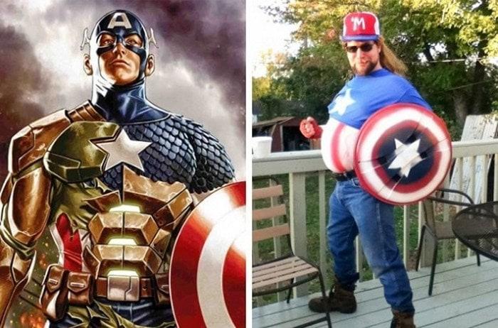 мужчина в образе капитана америка