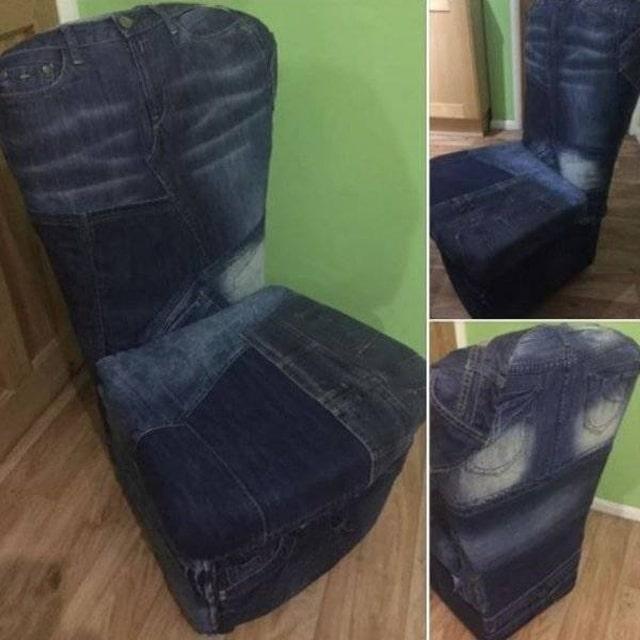 кресло с джинсовой обивкой