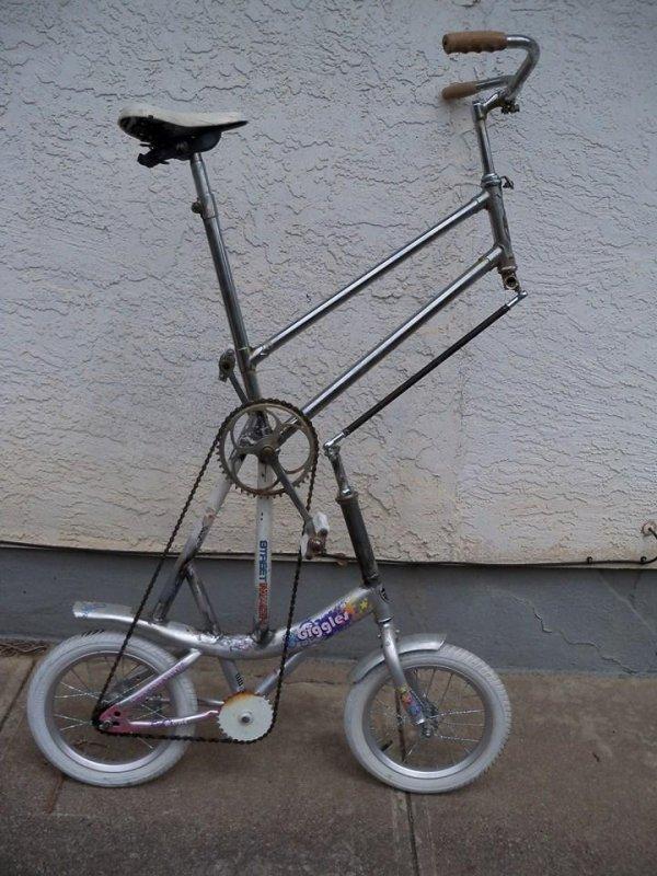 высокий велосипед на основе детской рамы