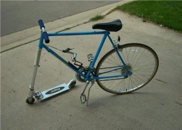 велосипед без переднего колеса